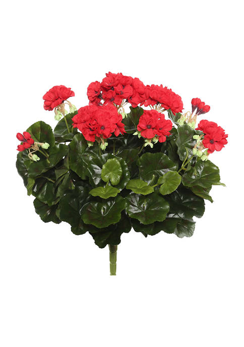 Red Polyester Geranium Bush