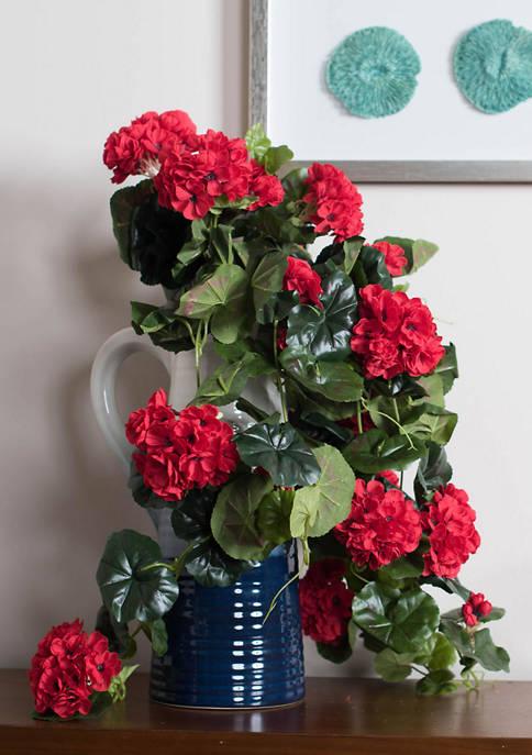 Red Polyester Geranium Hanging Bush