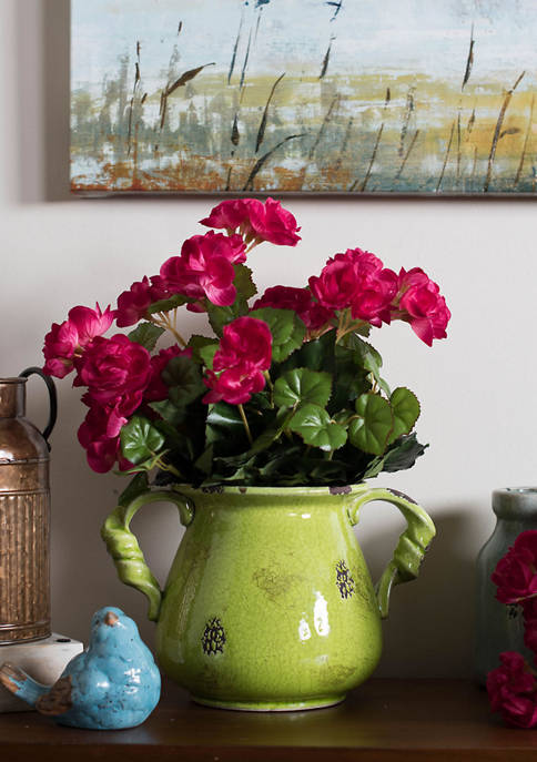 Vickerman Hot Pink Polyester Begonia Bush
