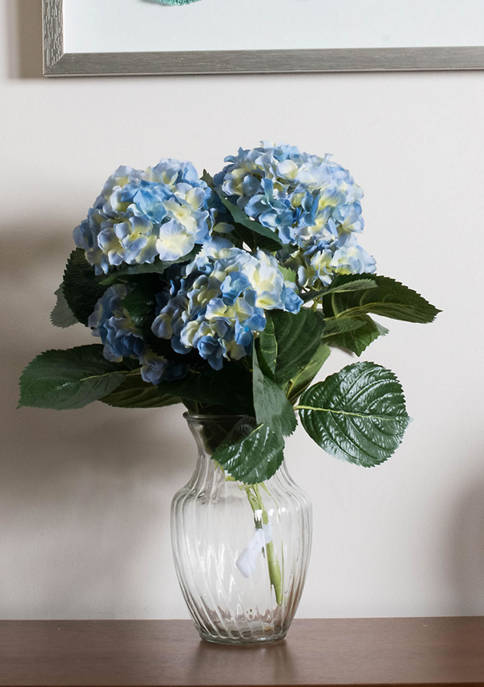 Vickerman Blue Polyester Hydrangea Bush
