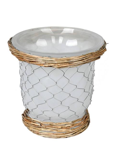 Vickerman Frosted Glass Vase Chicken Wire Wicker