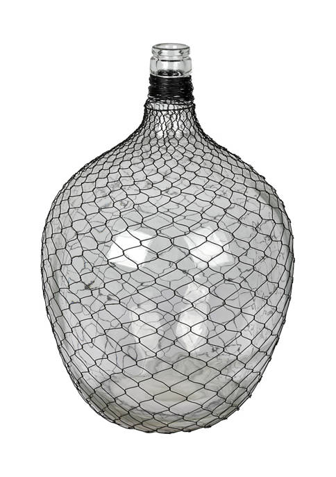 Vickerman Glass Bottle with Black Chicken Wire