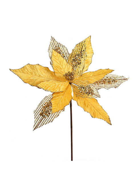 Vickerman Gold Poinsettia Glitter Spray