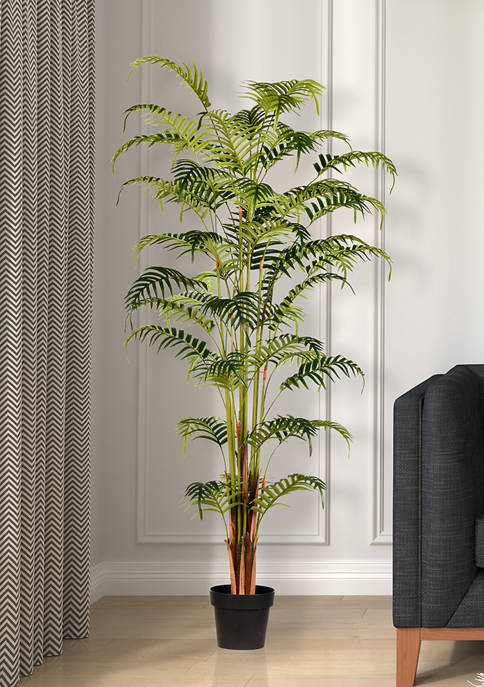Potted Fern Palm Real Touch Leaves