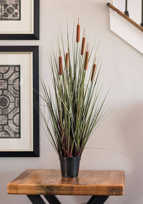 Vickerman Potted Green Straight Grass and Cattails