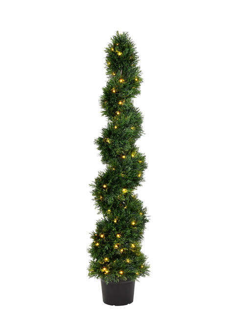 Vickerman Potted Green Cedar Spiral Tree