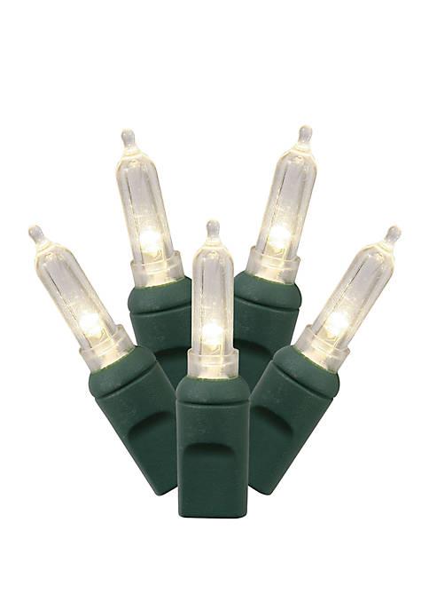 100 Warm White Italian LED Light on Green Wire, 34 Christmas Light Strand