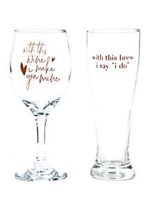 Alliteration His & Hers Glass Drinkware Set
