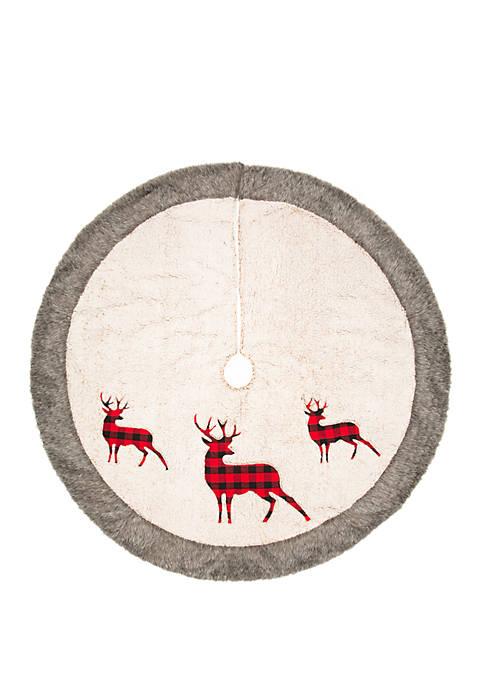 48 in Sherpa with Reindeer Tree Skirt