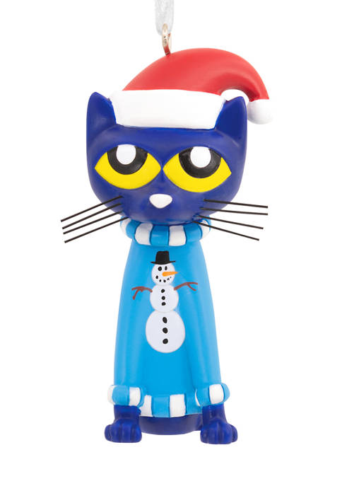 Pete the Cat in Sweater and Santa Hat Christmas Ornament