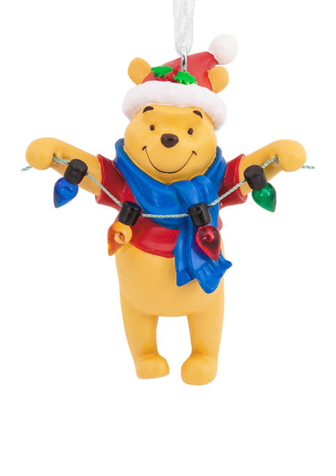 Disney Santa Winnie the Pooh Holding Light String Christmas Ornament