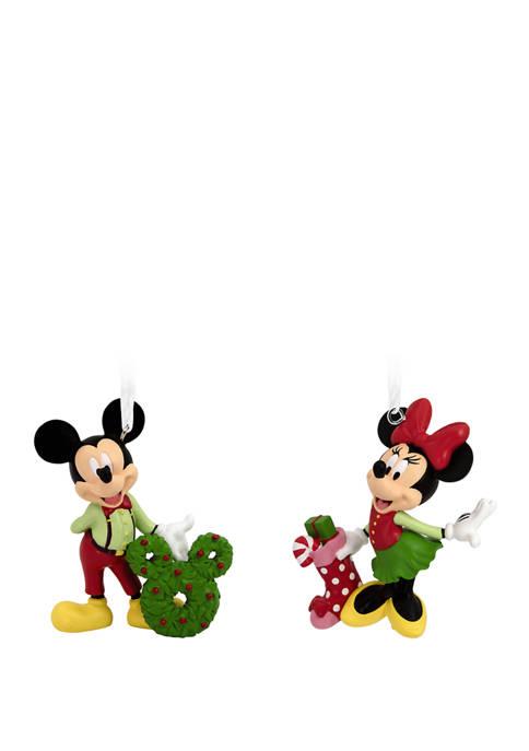 Hallmark Disney Mickey and Minnie Christmas Ornaments, Set