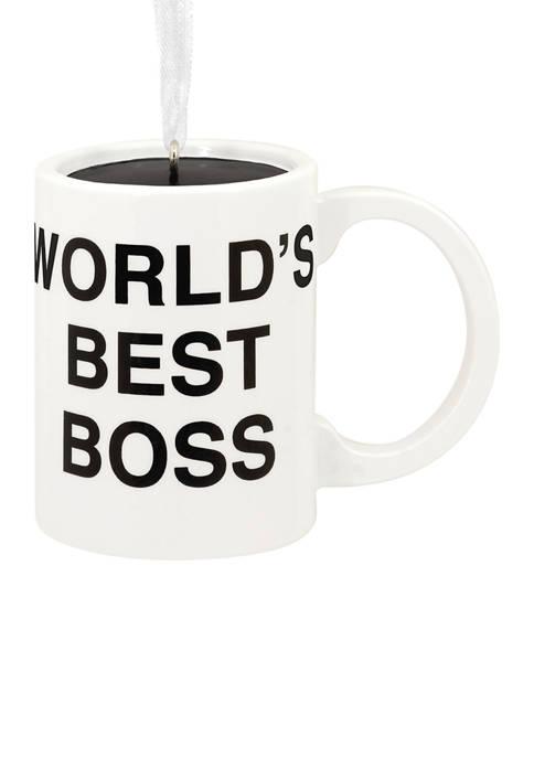 The Office Worlds Best Boss Coffee Mug Christmas Ornament