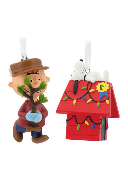 Hallmark Peanuts Charlie Brown and Snoopy Christmas Ornaments,