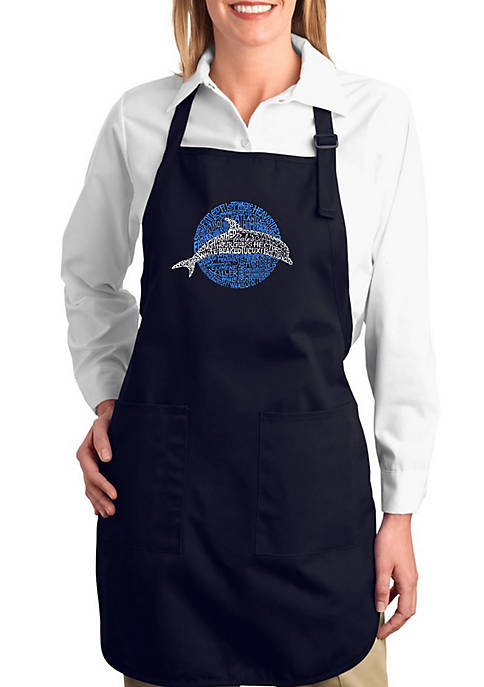Full Length Word Art Apron - Species of Dolphin