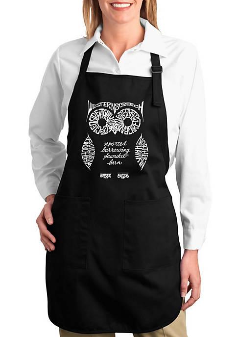 Full Length Word Art Apron - Owl