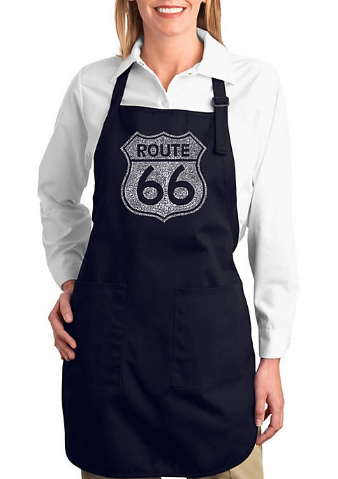 Full Length Word Art Apron - Cities Along The Legendary Route 66
