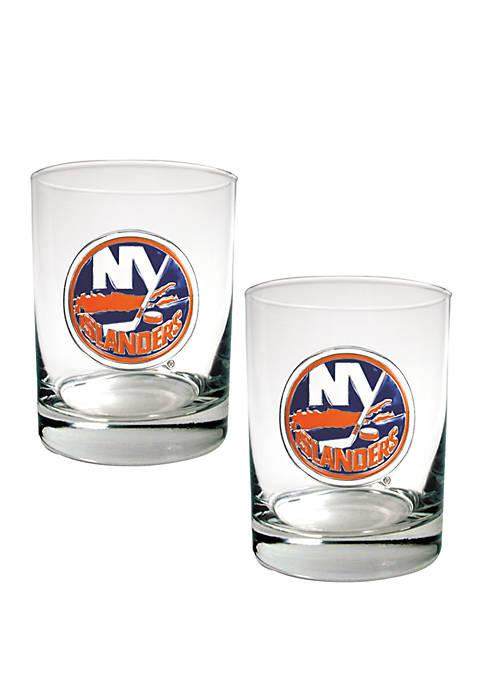 NHL New York Islanders Rocks Glass Set