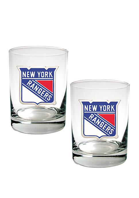 NHL New York Rangers Rocks Glass Set
