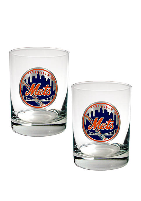 MLB New York Mets Rocks Glass Set of 2