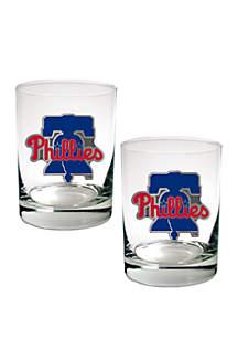Great American Products MLB Philadelphia Phillies Rocks Glass Set of 2