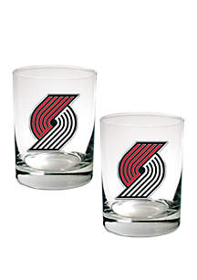 Great American Products NBA Portland Trail Blazers Set of 2 Rocks Glass Set