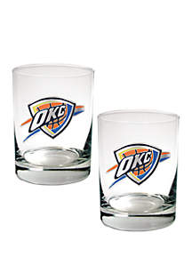 Great American Products NBA Oklahoma City Thunder Set of 2 Rocks Glass Set