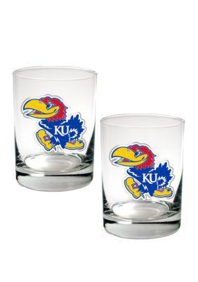 Great American Products Ncaa Kansas Jayhawks Set Of 2 Rocks Glasses