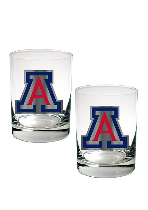 NCAA Arizona Wildcats Set of 2 Rocks Glasses