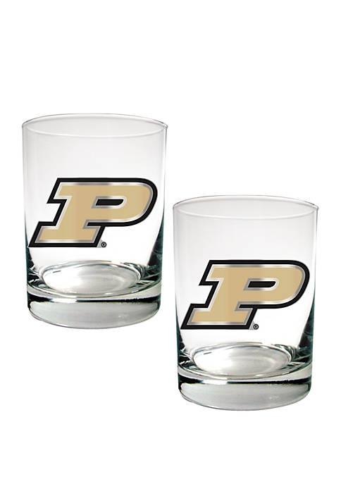 NCAA Purdue Boilermakers Set of 2 Rocks Glasses
