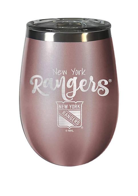 NHL New York Rangers 12 Ounce Rose Gold Wine Tumbler
