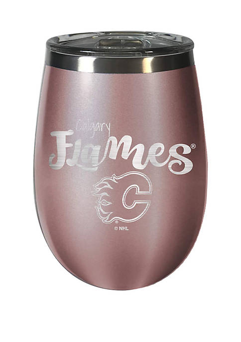 NHL Calgary Flames 12 Ounce Rose Gold Wine Tumbler