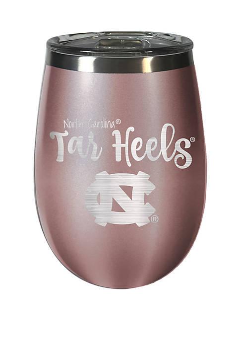 NCAA UNC Tarheels 12 Ounce Rose Gold Wine Tumbler