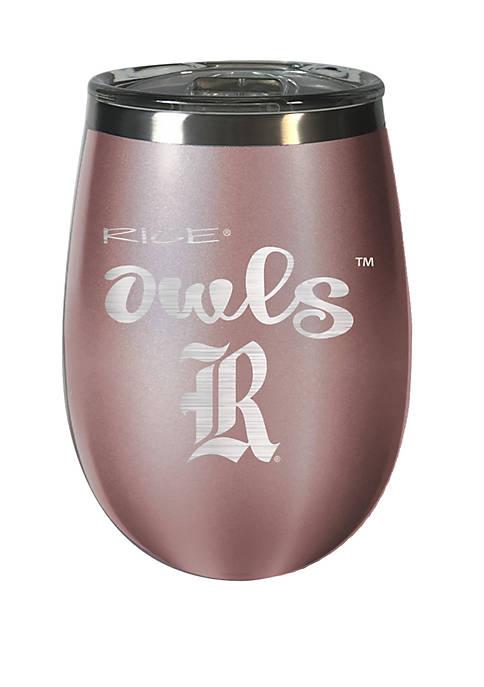 NCAA Rice University Owls 12 Ounce Rose Gold Wine Tumbler