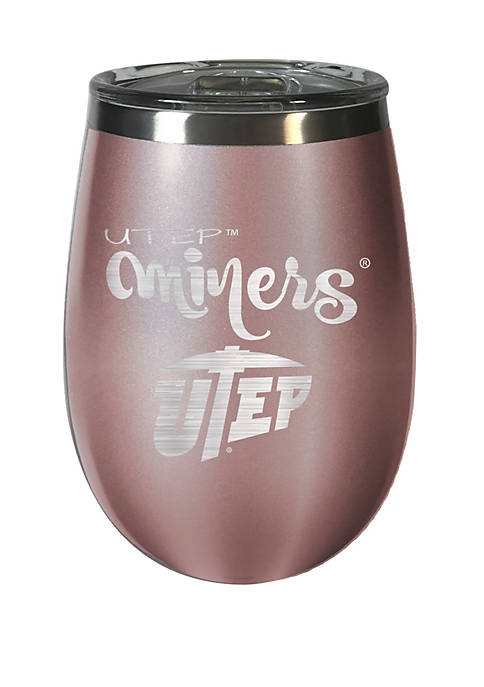 NCAA UTEP Miners 12 Ounce Rose Gold Wine Tumbler