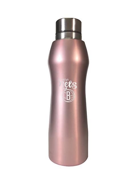 NBA Brooklyn Nets 20 Ounce Rose Gold Hydration Water Bottle