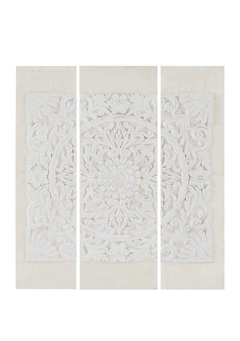 Madison Park Wooden Mandala White 3 Piece Wall