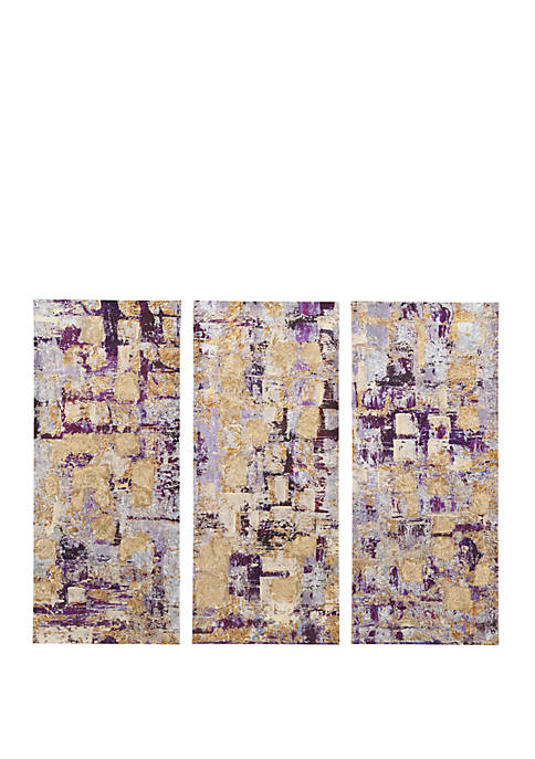 Madison Park Gilded Violet 3 Piece Wall Art