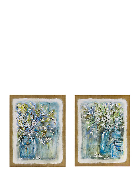 Madison Park Burlap Blossoms Wall Art Set