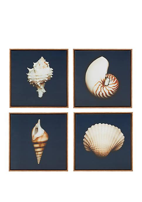 Ocean Seashells Wall Art, Set of 4