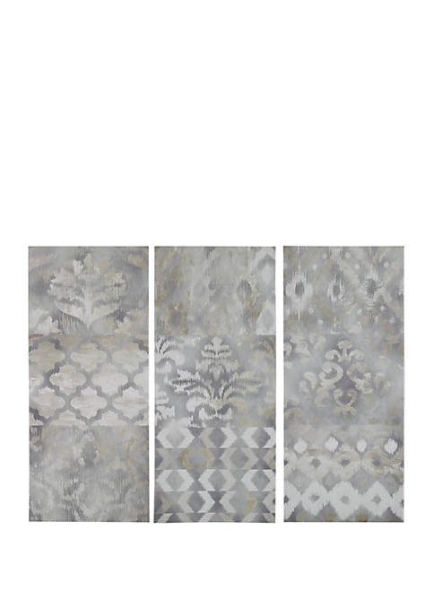 Madison Park Watercolor Ikat Taupe Canvas Set