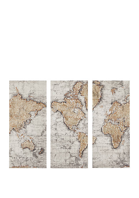 Map of the World Printed Canvas Set of 3