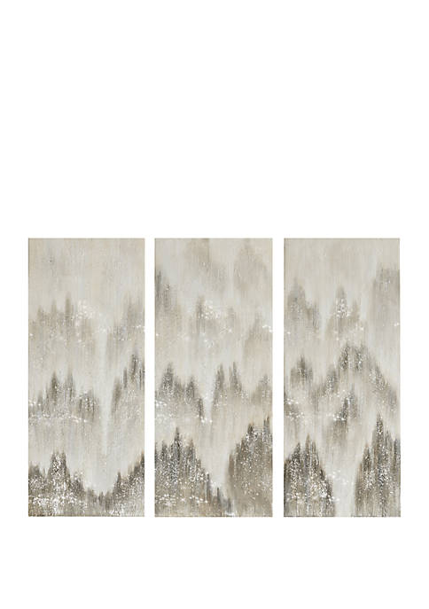 Madison Park Sterling Mist Hand Embellished Canvas Set