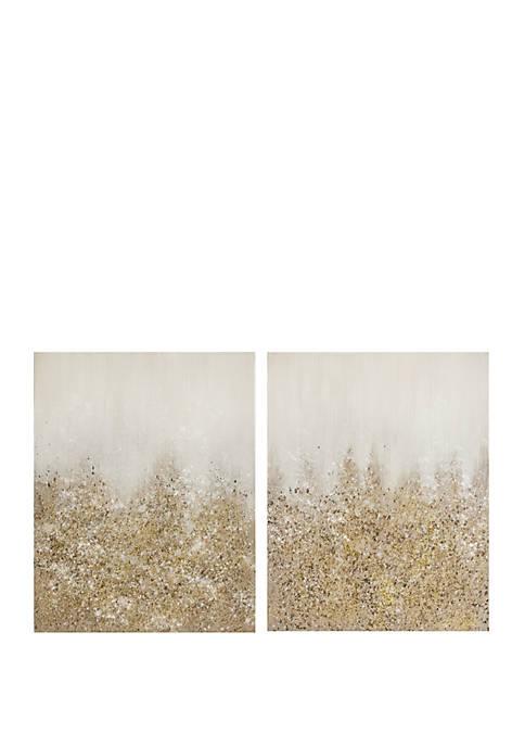 Golden Glimmer Hand Embellished Canvas 2 Piece Set