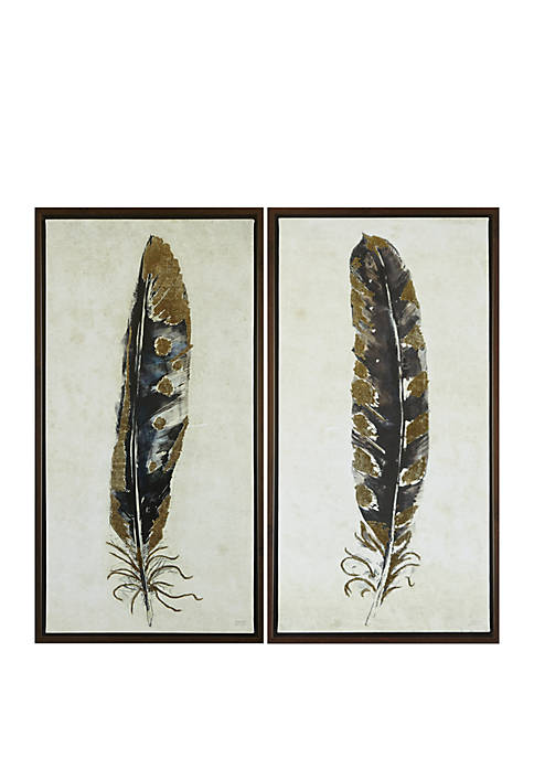 Gilded Feathers Canvas Set of 2