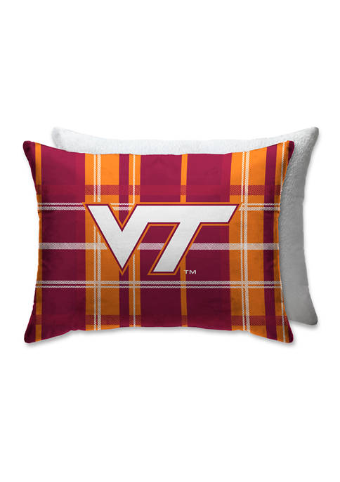 NCAA Virginia Tech Hokies Plaid 20 in x 26 in Bed Pillow with Sherpa Back