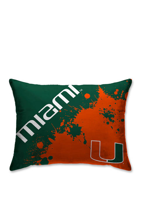NCAA Miami (FL) Hurricanes Splatter 20 in x 26 in Bed Pillow