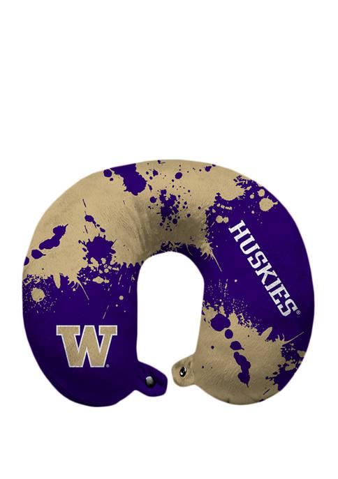NCAA Washington Huskies Splatter Print Travel Pillow