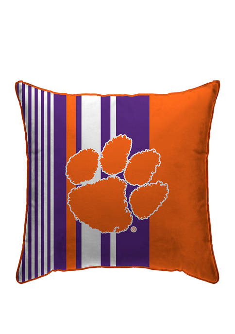 "NCAA Clemson Tigers Varigated Stripe 18X18"" Decorative Pillow"