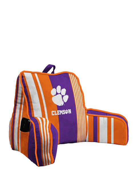 NCAA Clemson Tigers Variegated Stripe Back Rest with Cording and Side Pocket